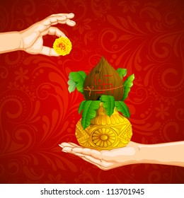 illustration of hand holding mangal kalash offering flower