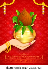 illustration of hand holding mangal kalash for Akshaya Tritiya celebration