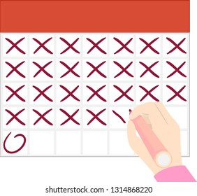 Illustration of a Hand Holding a Marker Crossing Blank Calendar with X until the Encircled Date