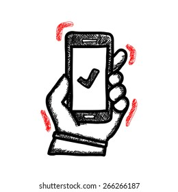 Illustration of a hand holding a mobile phone