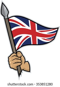 Illustration of an hand holding a spear with a waving British flag. White background. Patriotic concept.