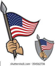 Illustration of an hand holding a spear with a waving US flag. White background. Patriotic concept.