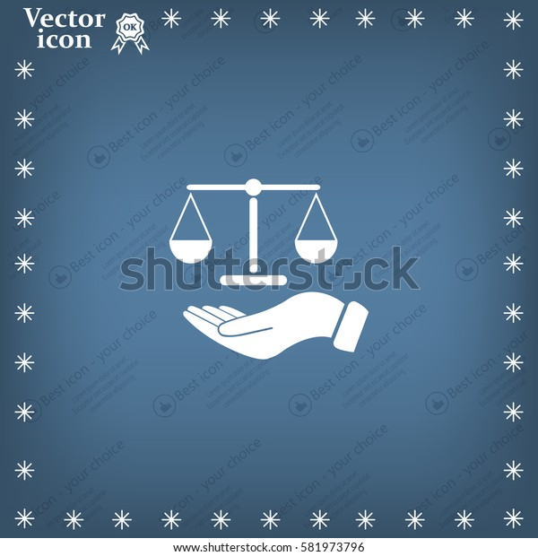 Illustration of a hand holding weighing scale scales of justice