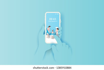 illustration of Hand holds smartphone with summertime application.Summer season with Rear view family happy concept idea.Creative design paper cut and craft on pastel color background. Vector. Eps 10