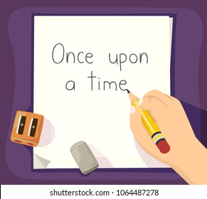Illustration of a Hand of a Kid Holding a Pencil and Writing Once Upon a Time on a Sheet of Paper