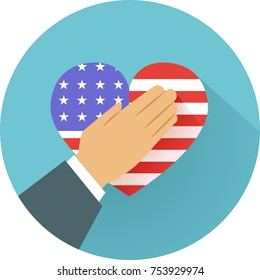 Illustration of a Hand Over a United States Flag Shaped as a Heart