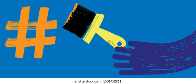Illustration of Hand Painting Hashtag with Paint Brush, Grunge Texture, Blue Background, Paint, Marketing with Hashtags, social media concept, making hashtag, Influencer, Apps, Wide Format, Identity