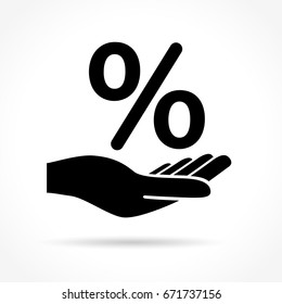 Illustration of hand and percentage icon on white background