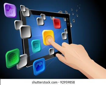 Illustration of hand pressing a flowing web app icon on cloud integrated touch screen tablet computer. Vector eps 10 file layered, grouped and named for easy editing.