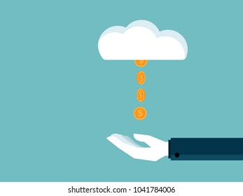 illustration of hand receive money coins from cloud business concept