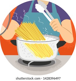 Illustration of a Hand Removing Cover to Check Boiling Water for Pasta. Kitchen Verb Boil