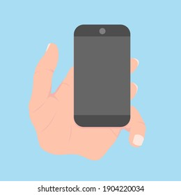 Illustration of a hand with a telephone. Hand holds a phone on a blue background