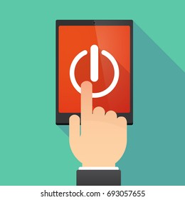 Illustration of a hand touching a tablet PC with an off button