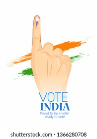 illustration of hand with voting sign of India - Vector