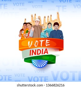 illustration of hand with voting sign of India, People of different religion showing voting finger