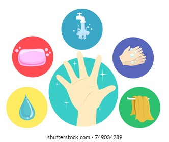 Illustration of a Hand with Hand Washing Steps from Water, Soap, Faucet, Rubbing Hands with Bubbles and Dry Towel