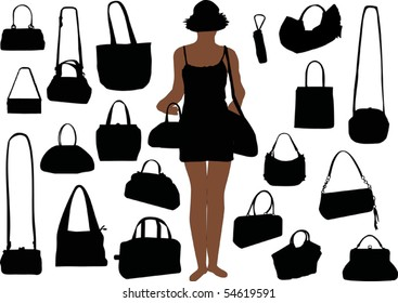 illustration with handbag silhouettes isolated on white background