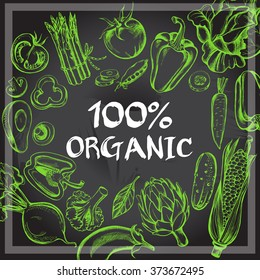 Illustration with hand-drawn vegetables. Template label for organic products.