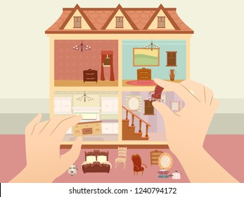 Illustration of Hands Arranging Small Furniture Inside a Multiple Story Doll House