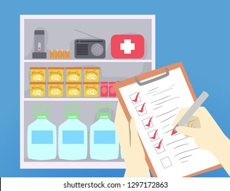 Illustration of Hands Checking List While Looking at the Cabinet with Food, Medicine, Flash Light, Radio, Battery and Water