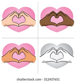 Illustration hands forming a heart, ethnicity. Ideal for catalogs, informative and institutional material