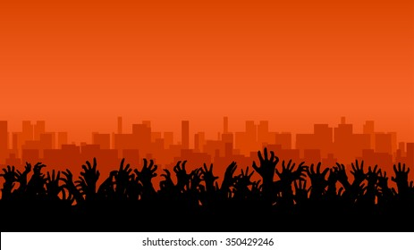 illustration of a lot of hands up in front of big city