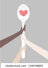 Illustration of Hands Holding a Big White Spoon with a Red Heart Print