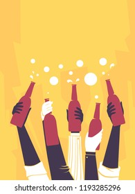 Illustration of Hands Holding Bottles of Beer Up in an After Work Party. Cheers