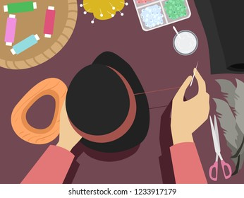 Illustration of Hands Holding a Hat and Needle Making Hat