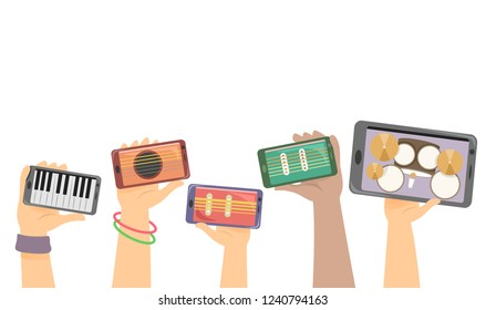 Illustration of Hands Holding Mobile Phones with Music Instruments for Jamming from Piano, Guitar, Bass and Drums