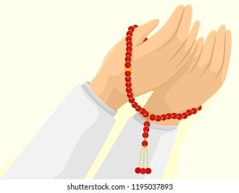 Illustration of Hands Holding a Muslim Misbaha Prayer Beads