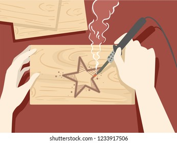 Illustration of Hands Holding a Soldering Iron Making a Star Pattern through Wood Burning