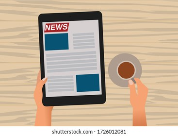 Illustration of Hands Holding a Tablet Reading the News with a Cup of Coffee on the table.