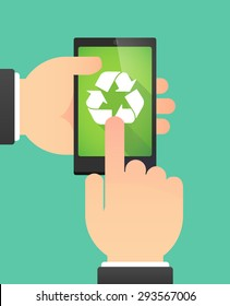 Illustration of the hands of a man using a phone showing a  recycle sign