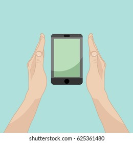 Illustration with hands near smart phone showing it. Blue background