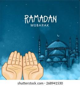 Illustration of hands praying namaz (Muslim's Prayer) infront of mosque in blue night for Islamic holy month of prayers, Ramadan Mubarak celebration.