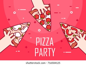 Illustration with hands and slice of pizza. Vector banner for fast food. Thin line flat design. Invitation to pizza party.