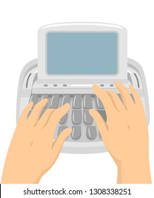 Illustration of Hands Typing On a Stenotype Machine in the Courtroom