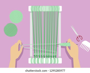 Illustration of Hands Weaving Using a Weaving Loom