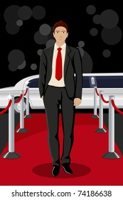 illustration of handsome male walking on red carpet