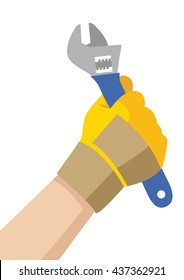Illustration of a handyman hand with glove holding a wrench