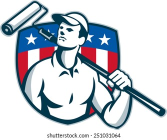 Illustration of a handyman tradesman carpenter painter carrying a paint roller looking up with American stars and stripes flag shield in the background done in retro style.