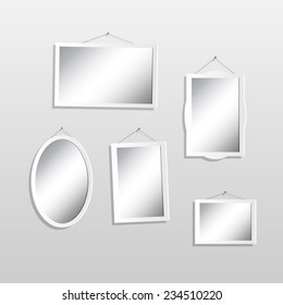 Illustration of hanging mirrors on a light background.