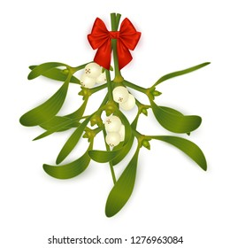Illustration of hanging mistletoe sprigs with berries and red bow isolated