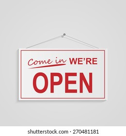 Illustration of a hanging open sign isolated on a white background.