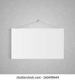 Illustration of a hanging sign on a gray background.