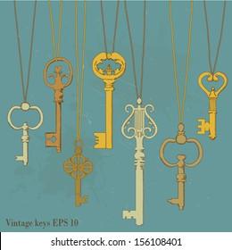 illustration of hanging vintage keys.