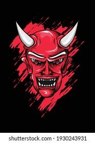 illustration of Hannya.demon mask. Premium Vector