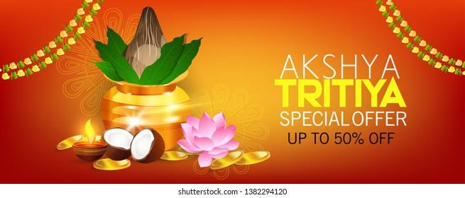 illustration of Happy Akshay Tritiya celebration for gold