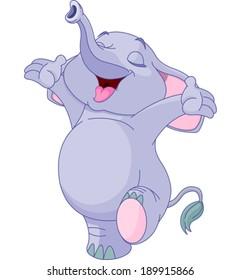 Illustration of happy baby elephant
